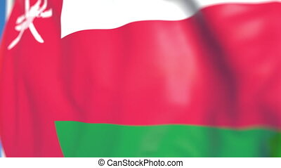 Waving national flag of Oman close-up, loopable 3D animation...