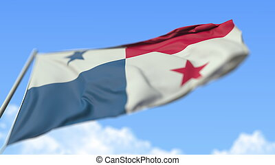 Waving national flag of Panama, low angle view. 3D rendering