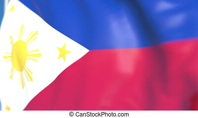 Waving national flag of Philippines close-up, loopable 3D animation