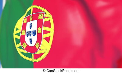 Waving national flag of Portugal close-up, loopable 3D animation