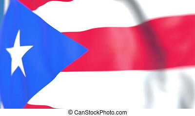 Waving national flag of Puerto Rico close-up, loopable 3D animation