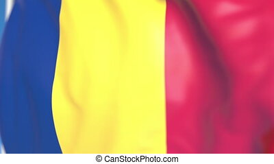Waving national flag of Romania close-up, loopable 3D animation