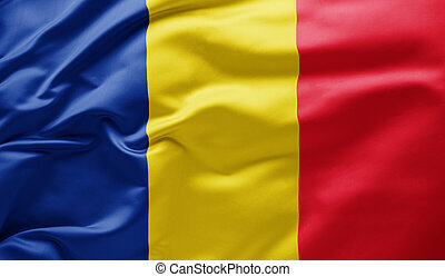 Waving national flag of Romania