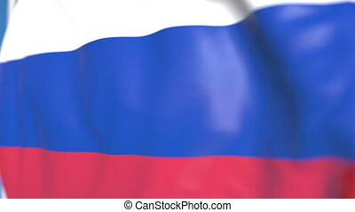 Waving national flag of Russia close-up, loopable 3D animation