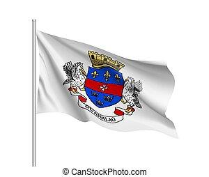 Waving national flag of Saint Barthelemy Island