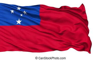 Waving national flag of Samoa