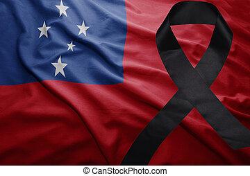 flag of Samoa with black mourning ribbon