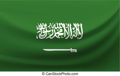 Waving national flag of Saudi Arabia. Vector illustration