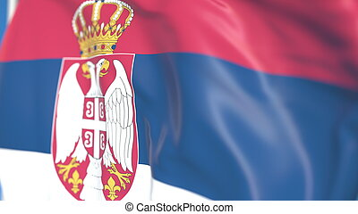 Waving national flag of Serbia close-up, 3D rendering