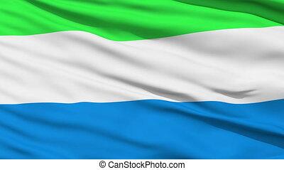 Waving national flag of Sierra Leon - Closeup cropped view...