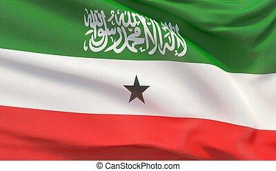 Waving national flag of Somaliland. Waved highly detailed close-up 3D render.
