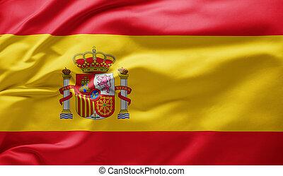Waving national flag of Spain