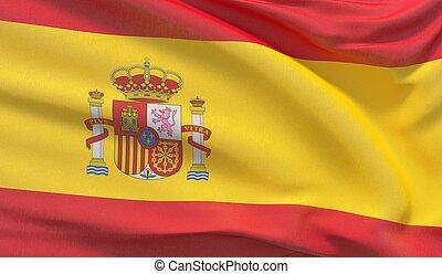 Waving national flag of Spain. Waved highly detailed close-up 3D render.