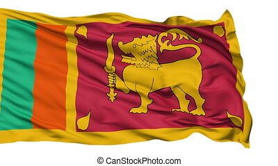 Waving national flag of Sri Lanka
