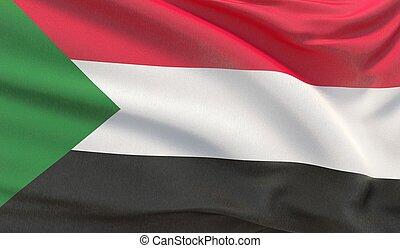 Waving national flag of Sudan. Waved highly detailed close-up 3D render.