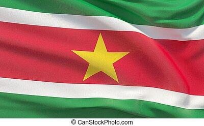 Waving national flag of Suriname. Waved highly detailed close-up 3D render.