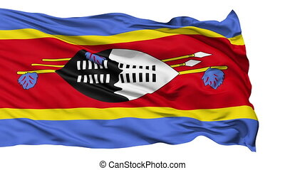 Waving national flag of Swaziland