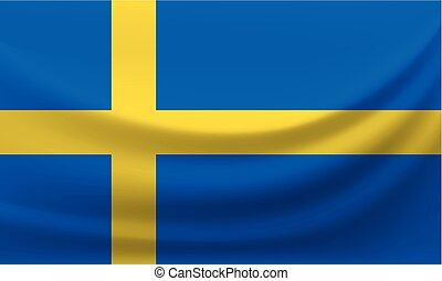 Waving national flag of Sweden. Vector illustration