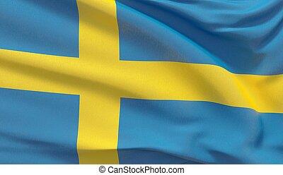 Waving national flag of Sweden. Waved highly detailed close-up 3D render.