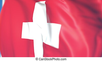 Waving national flag of Switzerland close-up, 3D rendering