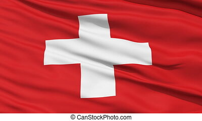 Waving national flag of Switzerland - Closeup cropped view...