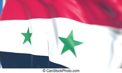 Waving national flag of Syria close-up, 3D rendering