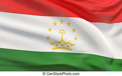 Waving national flag of Tajikistan. Waved highly detailed close-up 3D render.