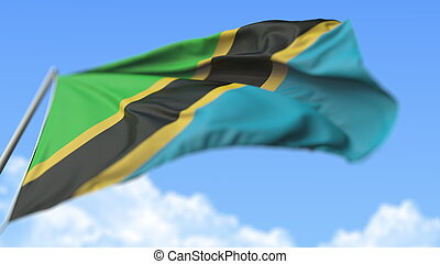 Waving national flag of Tanzania, low angle view. 3D rendering