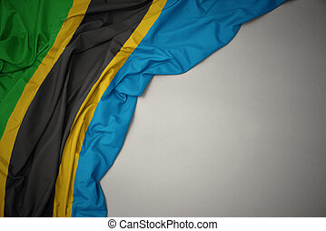 waving colorful national flag of tanzania on a gray background.