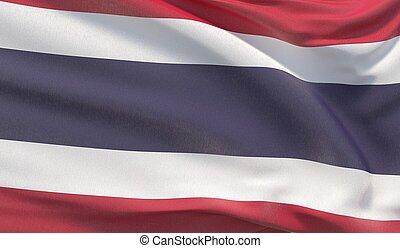 Waving national flag of Thailand. Waved highly detailed close-up 3D render.