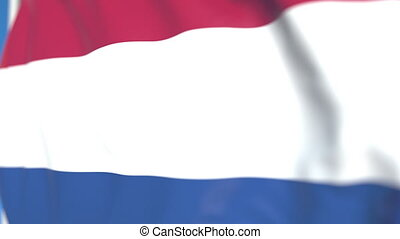 Waving national flag of the Netherlands close-up, loopable 3D animation