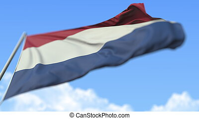 Waving national flag of the Netherlands, low angle view. 3D rendering