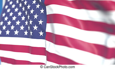 Waving national flag of the United States close-up, 3D rendering