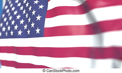 Waving national flag of the United States close-up, loopable 3D animation