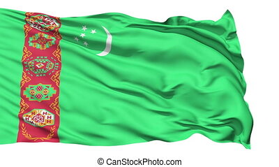 Animation of the full fluttering national flag of Turkmenistan isolated on white