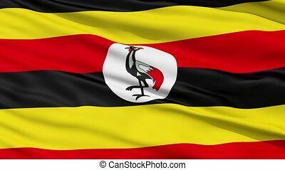 Waving national flag of Uganda - Closeup cropped view of a ...