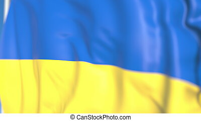 Waving national flag of Ukraine close-up, 3D rendering