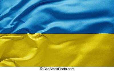 Waving national flag of Ukraine