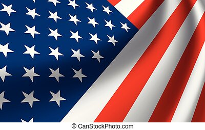 Waving national flag of United States of America in perspective. Vector illustration