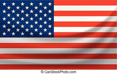 Waving national flag of United States of America. Vector illustration
