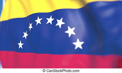 Waving national flag of Venezuela close-up, loopable 3D animation