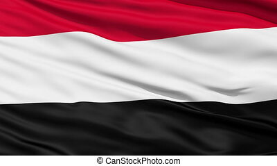 Waving national flag of Yemen - Closeup cropped view of a...