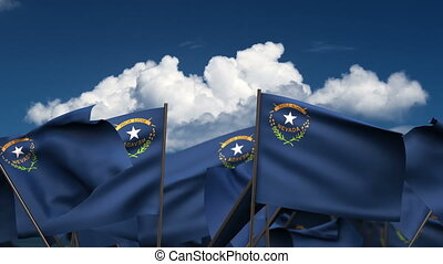 Waving Nevada State Flags (seamless & alpha channel)