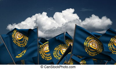 Waving New Hampshire State Flags