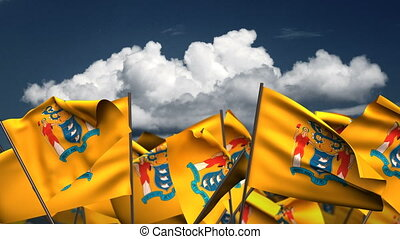 Waving New Jersey State Flags