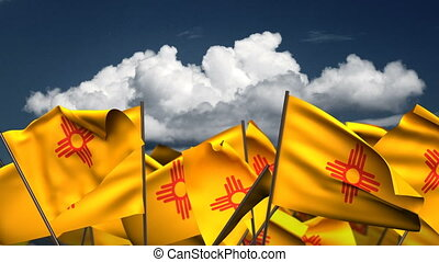 Waving New Mexico State Flags
