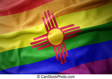 waving new mexico state rainbow gay pride flag banner