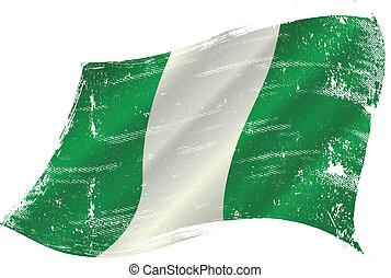 waving nigerian grunge flag - flag of Nigeria in the wind...