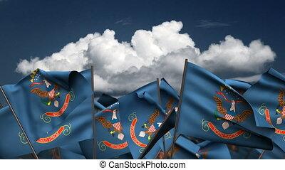 Waving North Dakota State Flags (seamless & alpha channel)