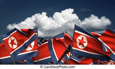 Waving North Korea Flags (seamless & alpha channel)